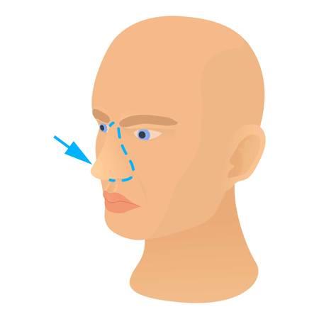 Nose plastic correction icon. Cartoon illustration of nose plastic correction vector icon for web