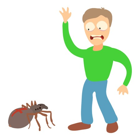 Arachnophobia concept. Cartoon illustration of a man suffering from the fear of spiders