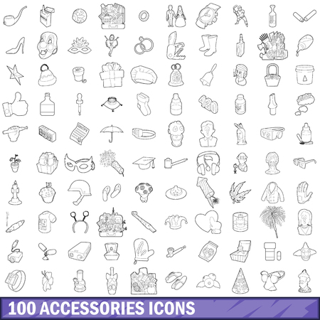 wedding dress: 100 accessories icons set in outline style for any design vector illustration