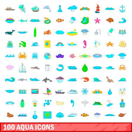 100 aqua icons set in cartoon style for any design vector illustration Illustration
