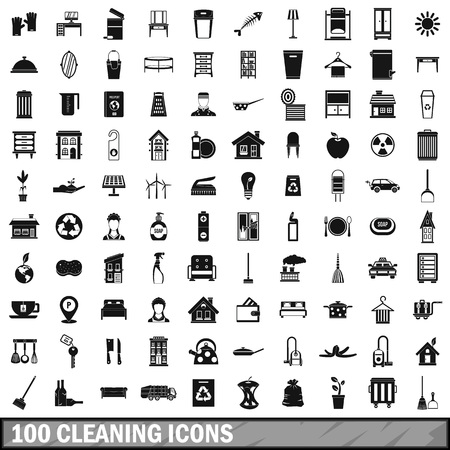 pail tank: 100 cleaning icons set in simple style for any design vector illustration Illustration