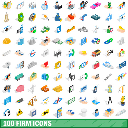 100 firm icons set in isometric 3d style for any design vector illustration