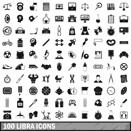 100 libra icons set, simple style