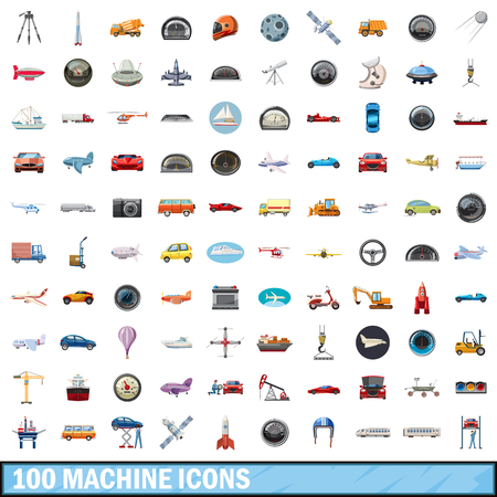 100 machine icons set, cartoon style