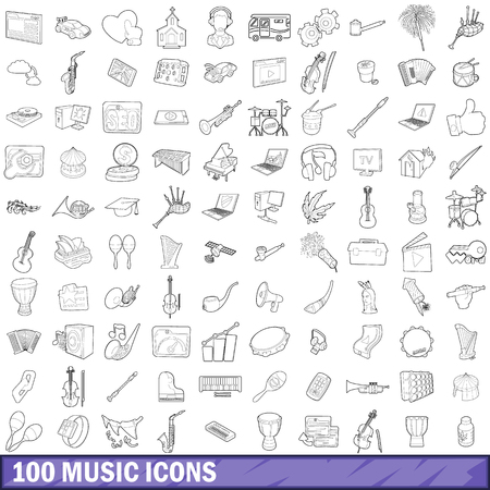 polyphony: 100 music icons set in outline style for any design vector illustration Illustration