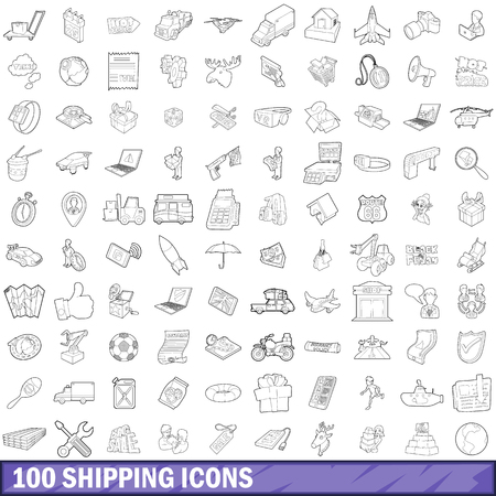 exponential: 100 shipping icons set in outline style for any design vector illustration