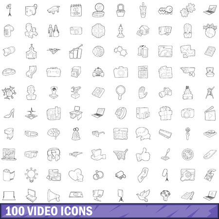 sharpness: 100 video icons set, outline style