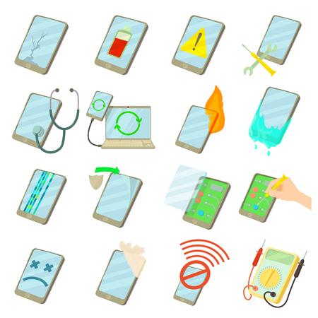 téléphones réparation Fix icons set, style de bande dessinée