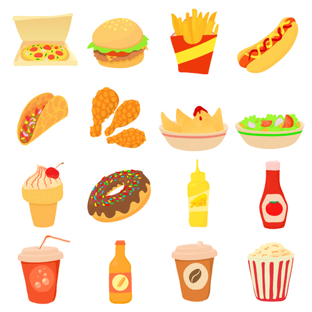 canned drink: Fast food icons set, cartoon style