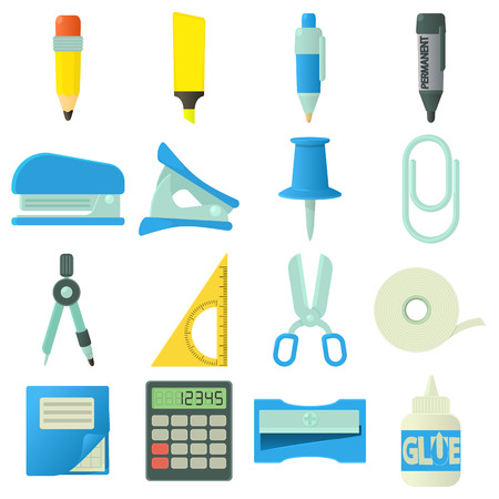 pen and marker: Stationery icons set, cartoon style