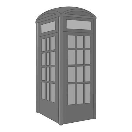 phonebox: Telephone box icon in monochrome style isolated on white background vector illustration