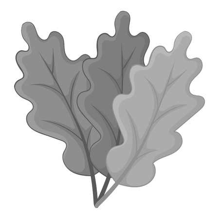 Autumn leaves icon in monochrome style isolated on white background vector illustration Illustration