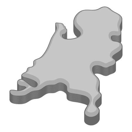 Holland kaartpictogram in zwart-wit stijl geïsoleerd op witte achtergrond vectorillustratie
