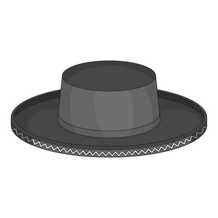 english culture: Black man fedora hat icon in monochrome style isolated on white background vector illustration