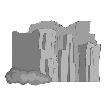 Sandstone cliffs, Talampaya National Park icon in monochrome style isolated on white background vector illustration Иллюстрация