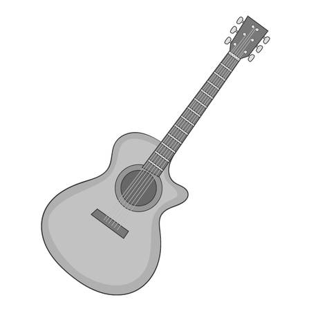 Charango icon in monochrome style isolated on white background vector illustration