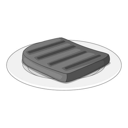 Beef steak on a plate icon in monochrome style isolated on white background vector illustration Illustration