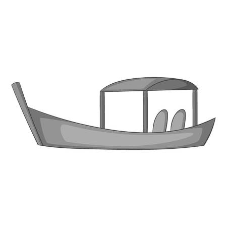 Thai boat icon in monochrome style isolated on white background vector illustration Иллюстрация