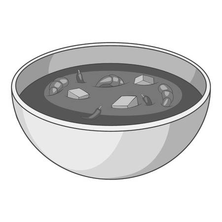 Tom yum thai soup icon in monochrome style isolated on white background vector illustration