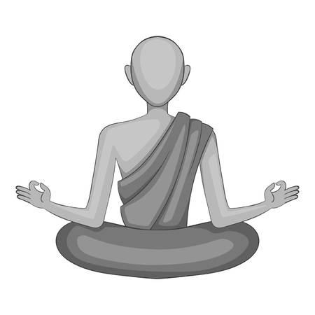 Icône de moine bouddhiste en style monochrome isolé sur fond blanc illustration vectorielle