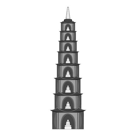 Tran Quoc Pagoda in Hanoi icon in monochrome style isolated on white background vector illustration Ilustração