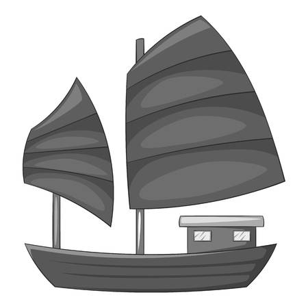 Junk boat with red sails icon in monochrome style isolated on white background vector illustration
