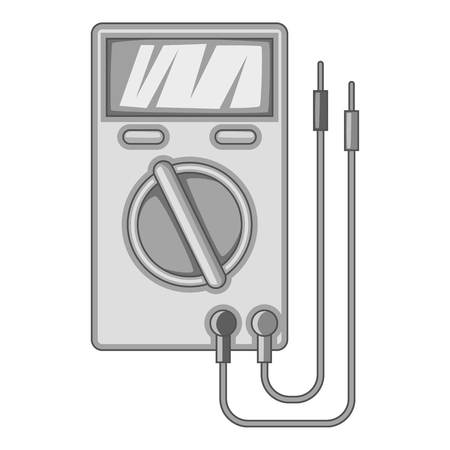 Digital multimeter icon in monochrome style isolated on white background vector illustration