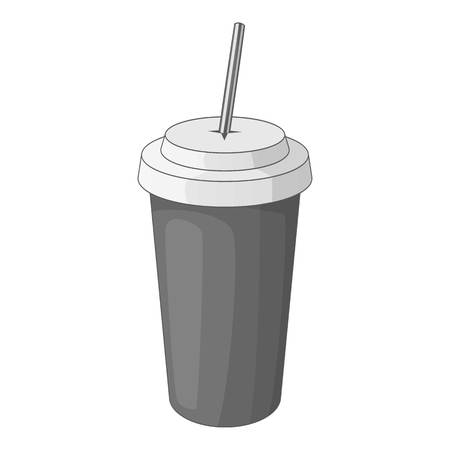 Paper cup with straw icon in monochrome style isolated on white background vector illustration
