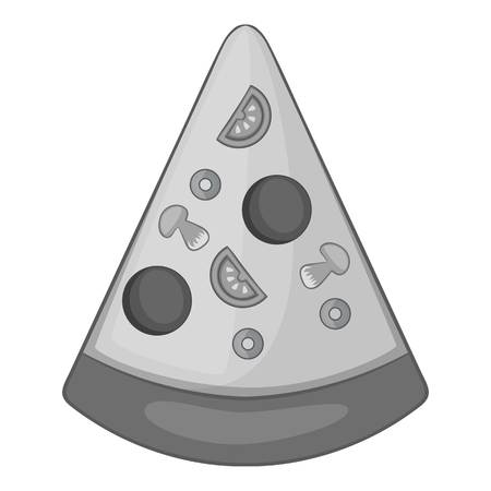 Slice of pizza icon in monochrome style isolated on white background vector illustration Illustration
