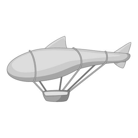 elliptic: Flying dirigible icon in monochrome style isolated on white background vector illustration