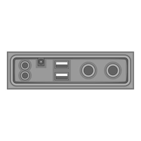 Cable connection panel icon in monochrome style isolated on white background vector illustration