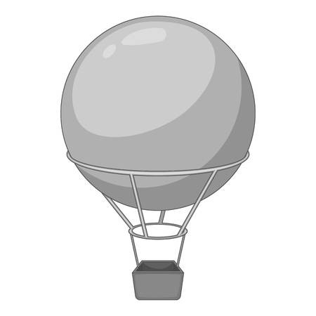 blimp: Flying round balloon icon in monochrome style isolated on white background vector illustration