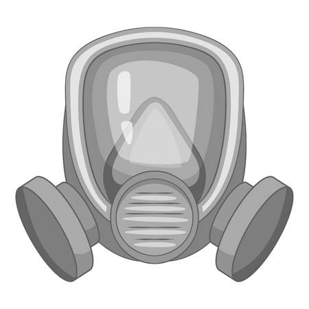 army gas mask: Gas mask icon in monochrome style isolated on white background vector illustration