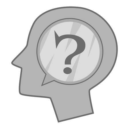 Head silhouette with question mark inside icon