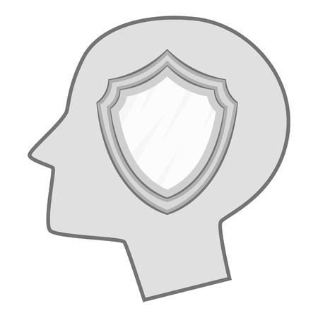 Shield inside human head icon monochrome Vektoros illusztráció