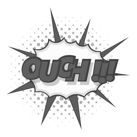 ouch: Ouch, comic text icon monochrome Illustration