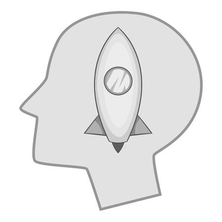 Head silhouette with rocket inside icon monochrome