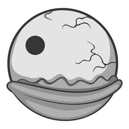 Creepy eyeball icon monochrome