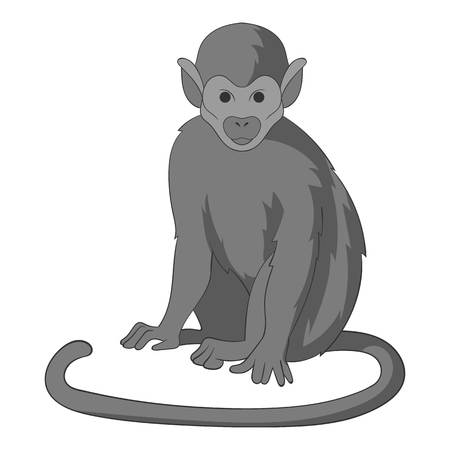 Snub nosed monkey icon monochrome