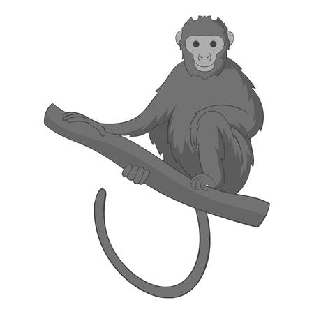 Monkey sitting on a branch icon monochrome