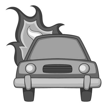 Burning car icon monochrome
