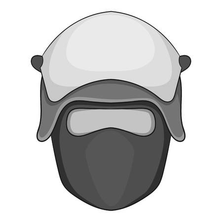 Policeman head in a face mask icon monochrome Illustration
