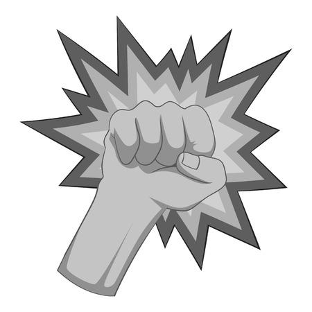 Fire fist icon monochrome Illustration