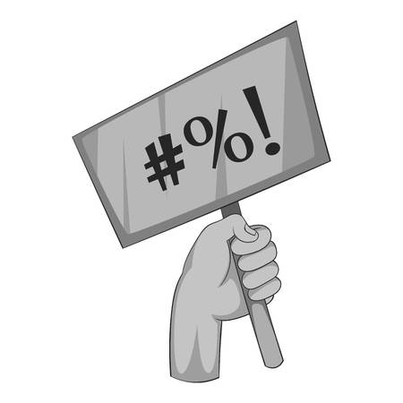 microblogging: Hand holding protest placard icon monochrome