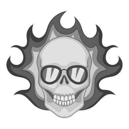 fervent: Flaming skull icon monochrome Illustration