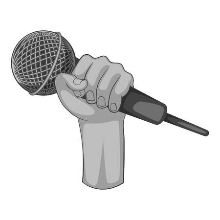 Hand holding microphone icon monochrome