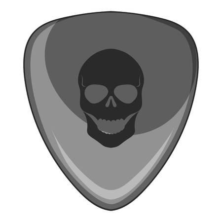 Guitar pick with a skul icon monochrome