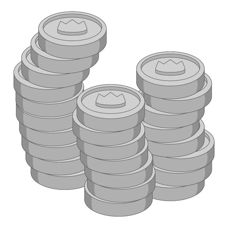 Stacks of coins with crown icon monochrome