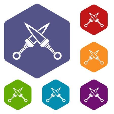 ninja tool: Crossed japanese daggers icons set hexagon