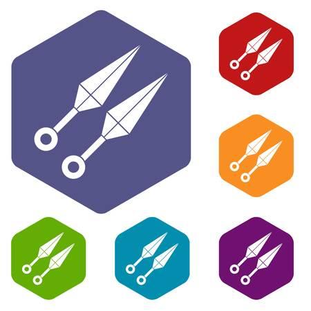ninja tool: Ninja weapon kunai icons set hexagon